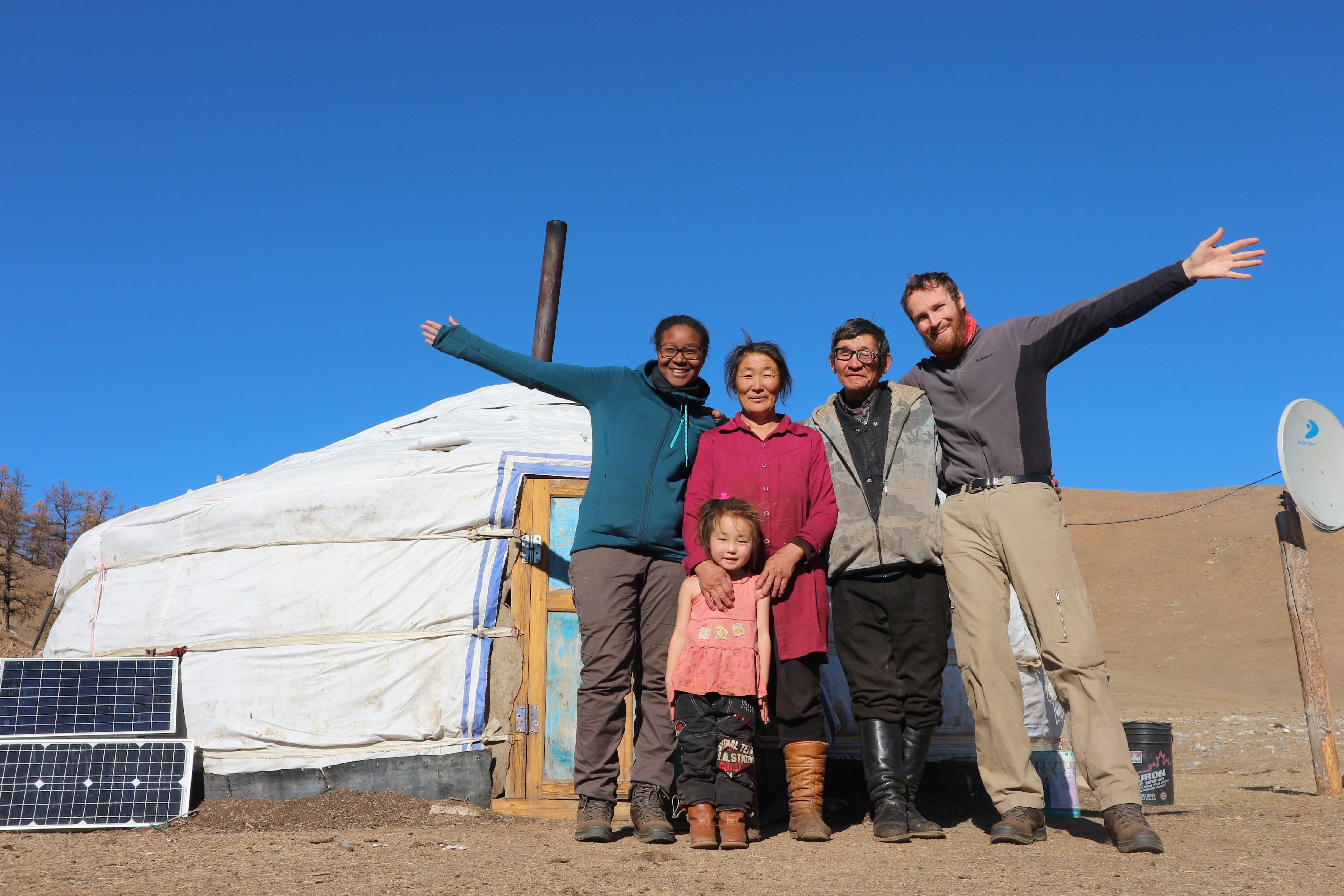 In front of the yurt